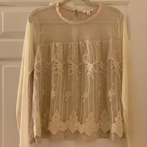 Tops - NWT gorgeous cream colored lace w/sheer blouse
